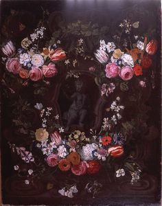 Erasmus Ii Quellinus - Garland of flowers surrounding cherub in grisaille.