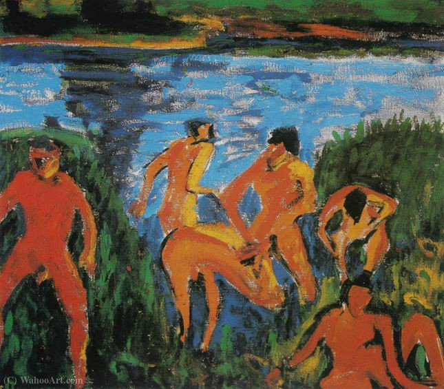 Bathers in the Reeds by Erich Heckel (1883-1970, Germany)