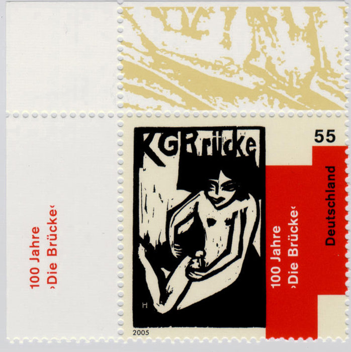 Briefmarke KG Bruecke by Erich Heckel (1883-1970, Germany)
