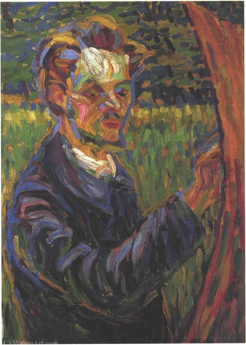 Portrait of Erich Heckel at the easel by Erich Heckel (1883-1970, Germany)