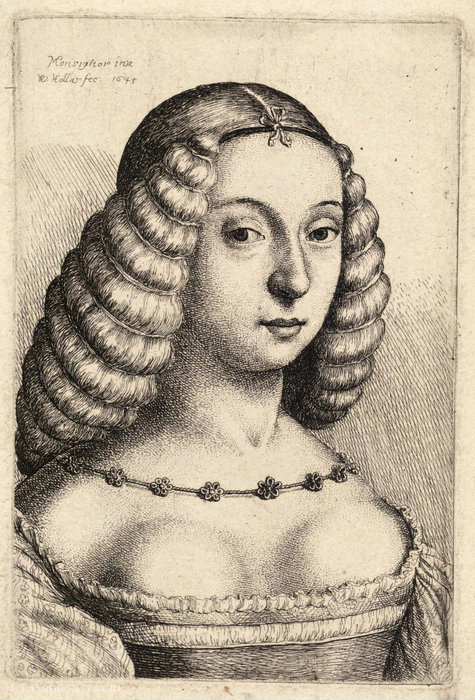 Young woman with hair in rolls, after Bonsignori. by Francesco Bonsignori (1460-1519, Italy)