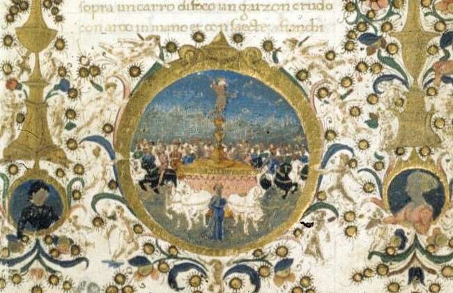 Miniature of Petrarch's Triumph of Love. by Francesco Di Antonio Del Chierico (1433-1484, Italy)