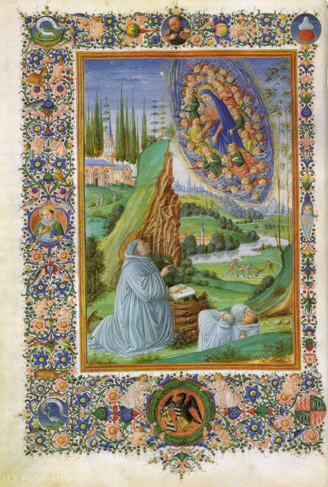 Vision of Saint Bernard in sermones in cantica canticorum of Saint Bernard and gilberto Hoyland by Francesco Di Antonio Del Chierico (1433-1484, Italy)