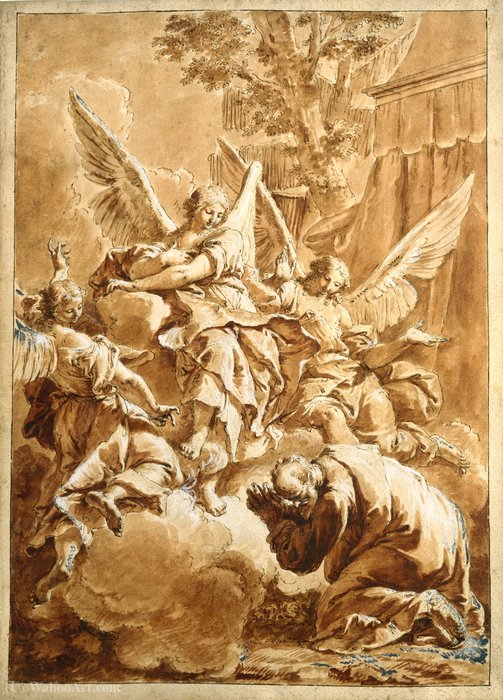 Abraham and the Three Angels by Francesco Fontebasso (1707-1769, Italy)
