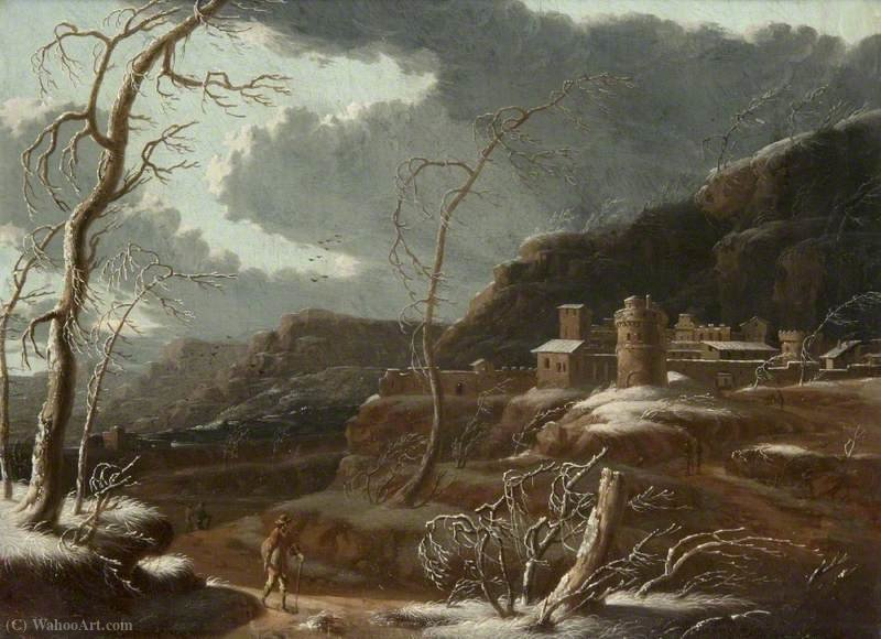 A Winter Landscape with Fortified Buildings by Francesco Foschi (1710-1780, Italy)
