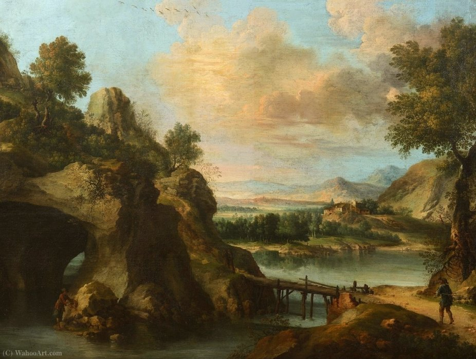 Mountain landscape with figures (detail) by Francesco Foschi (1710-1780, Italy) | Art Reproduction | ArtsDot.com