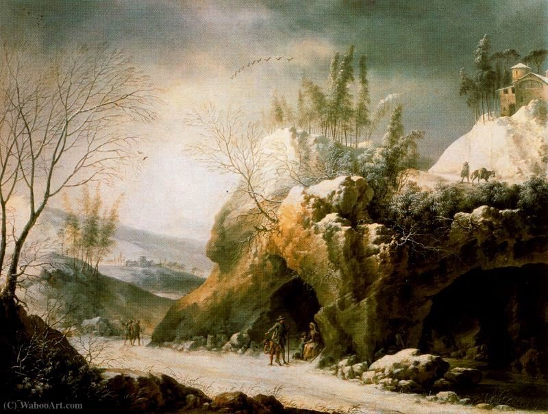 Winter landscape in the Apennines with a cave by Francesco Foschi (1710-1780, Italy) | ArtsDot.com