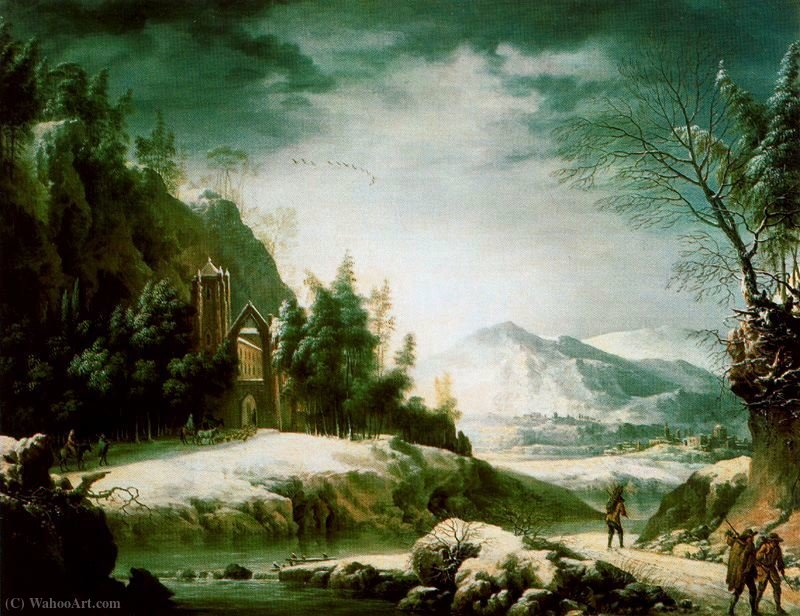 Winter landscape in the Apennines with ruined temple, by Francesco Foschi (1710-1780, Italy)