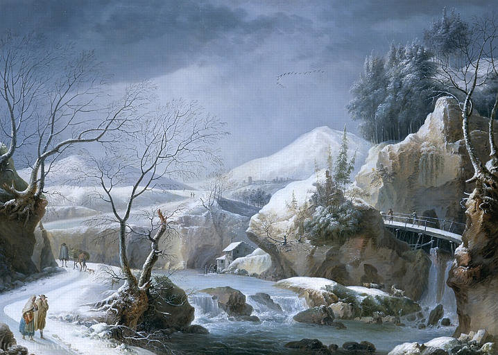 Winter landscape with stream and waterfall by Francesco Foschi (1710-1780, Italy)