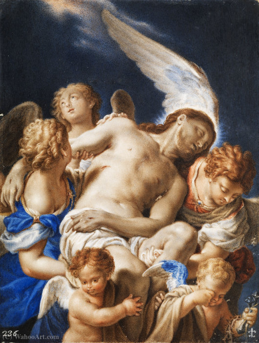 Angels carrying the corpse of Christ by Francesco Trevisani (1656-1746, Italy)
