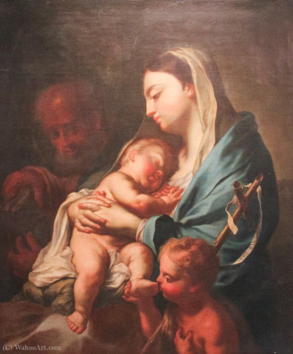 Madonna and Child with Infant St. John the Baptist and St. Joseph by Francesco Trevisani (1656-1746, Italy) | Art Reproduction | ArtsDot.com