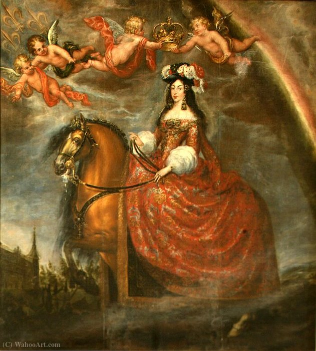 Equestrian portrait of Marie Louise d'Orléans by Francisco Rizi (1608-1685, Spain)