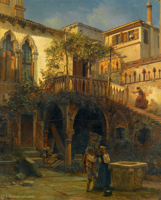 Hof in Venice by Friedrich Nerly (1808-1878, Germany) | Art Reproduction | ArtsDot.com