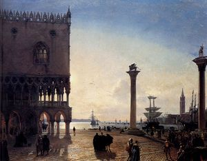Friedrich Nerly - Piazza san marco at night