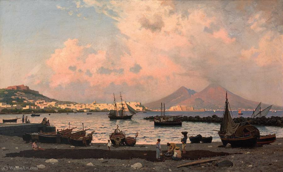 View over the Gulf of Naples on the city and Mount Vesuvius by Friedrich Nerly (1808-1878, Germany)