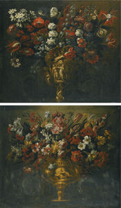 Gabriel De La Corte - A pair of flower still li..
