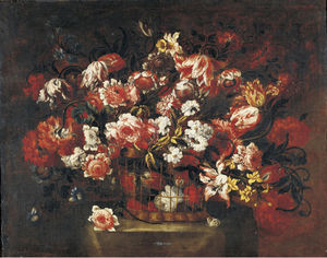 Gabriel De La Corte - Still life of flowers in ..
