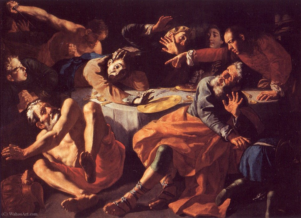 Order Oil Painting : Die Ermordung Amnons beim Gastmahl Absaloms by Gaspare Traversi (1722-1770, Italy) | ArtsDot.com
