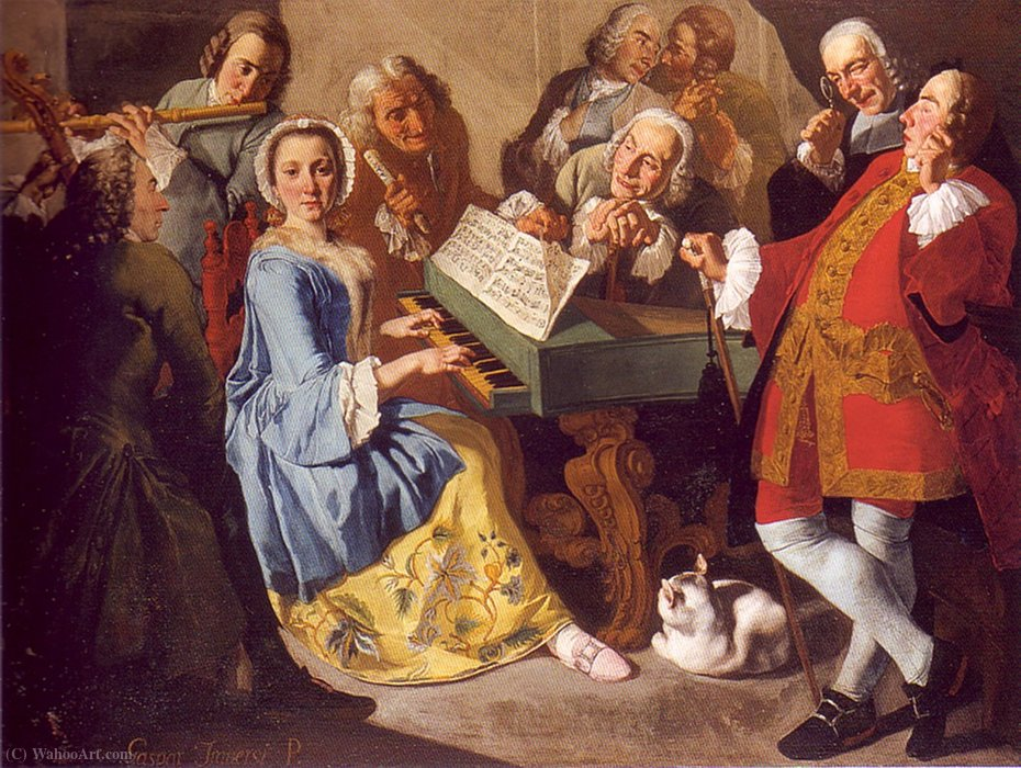 The concert `A voce sola` by Gaspare Traversi (1722-1770, Italy) | Art Reproduction | ArtsDot.com