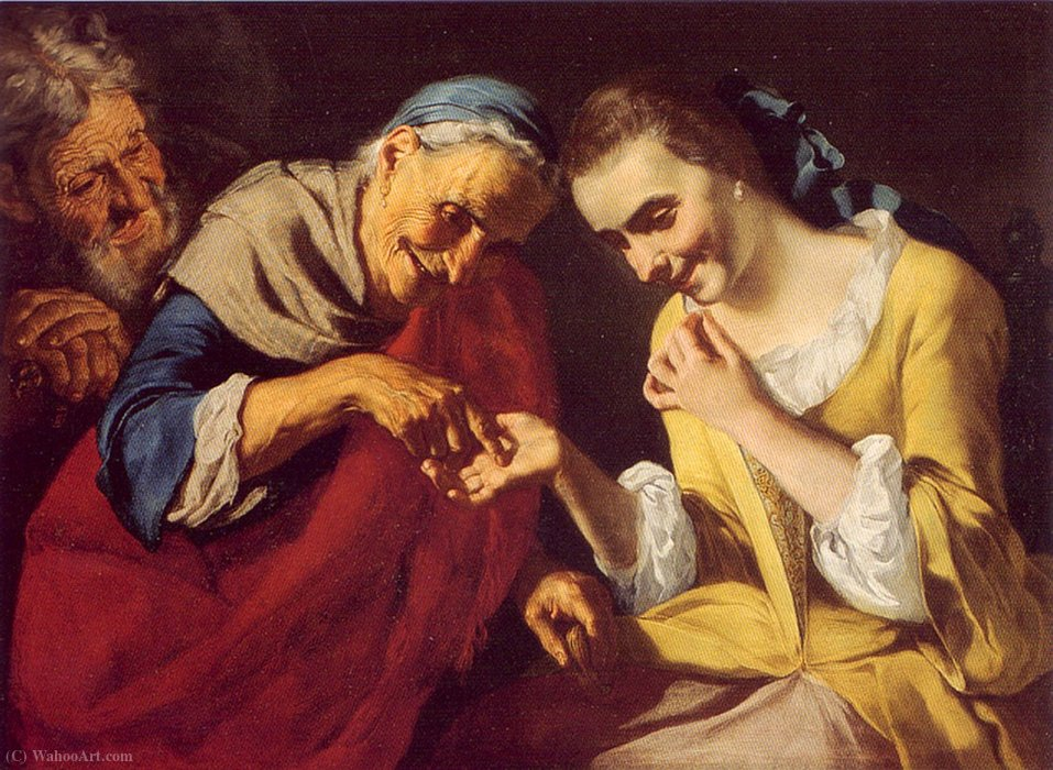 the Fortune Teller by Gaspare Traversi (1722-1770, Italy) | Painting Copy | ArtsDot.com