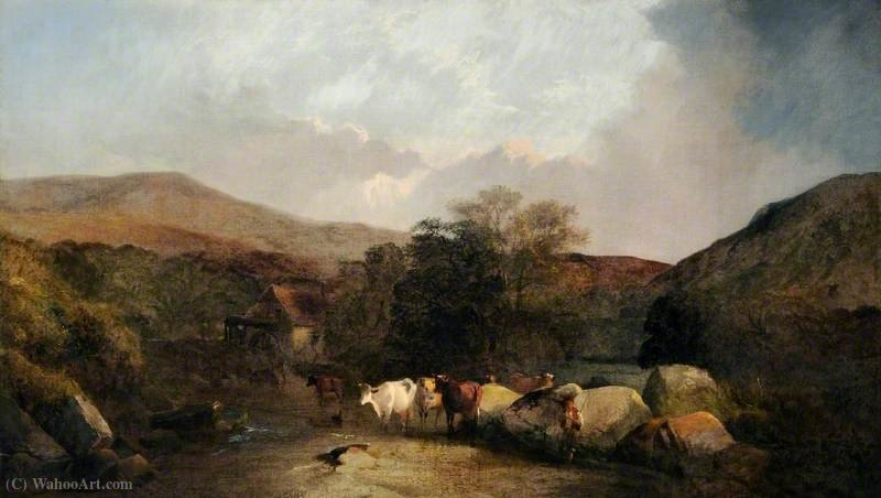 Landscape with Cattle by George Shalders (1825-1873, United Kingdom)