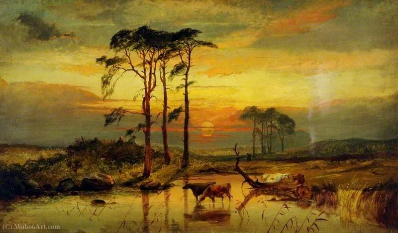 Sunset with Cattle by George Shalders (1825-1873, United Kingdom)