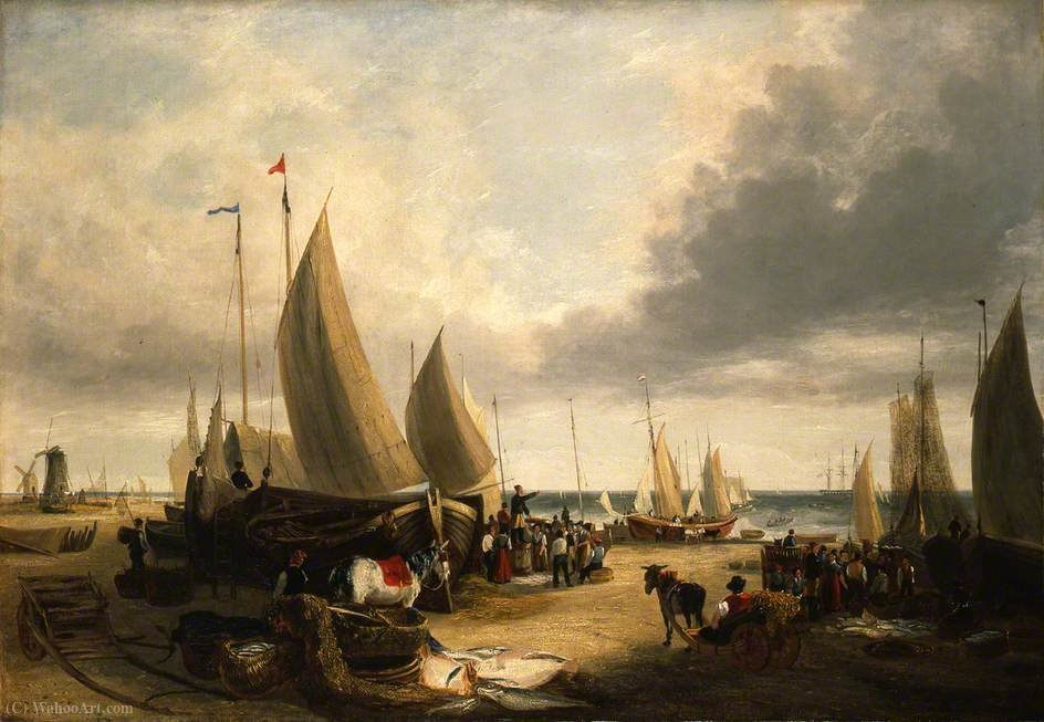 Fish auction, yarmouth beach, norfolk by George Vincent (1796-1831, United Kingdom)