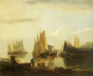 George Vincent - Fishing Boats in a Harbour