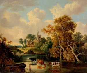 George Vincent - Landscape with Cattle in a Poo..