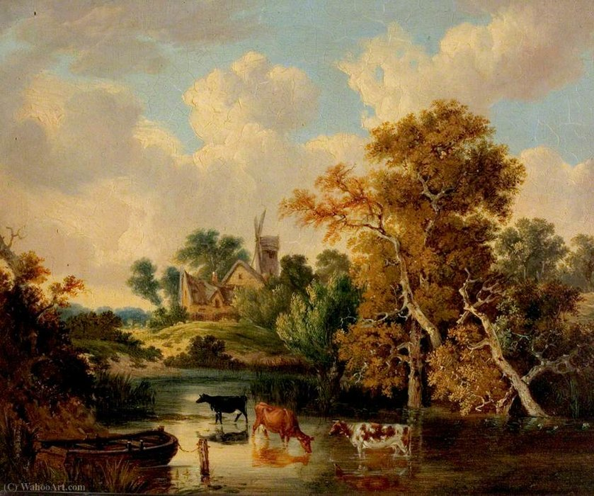 Landscape with Cattle in a Pool by George Vincent (1796-1831, United Kingdom)