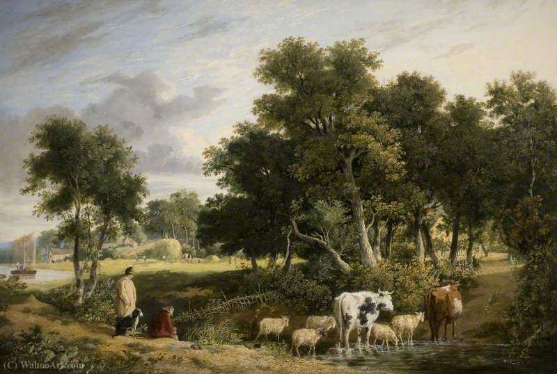 Landscape, Cattle Crossing a Stream by George Vincent (1796-1831, United Kingdom)