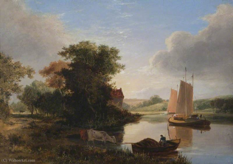 River Scene with Boats by George Vincent (1796-1831, United Kingdom)