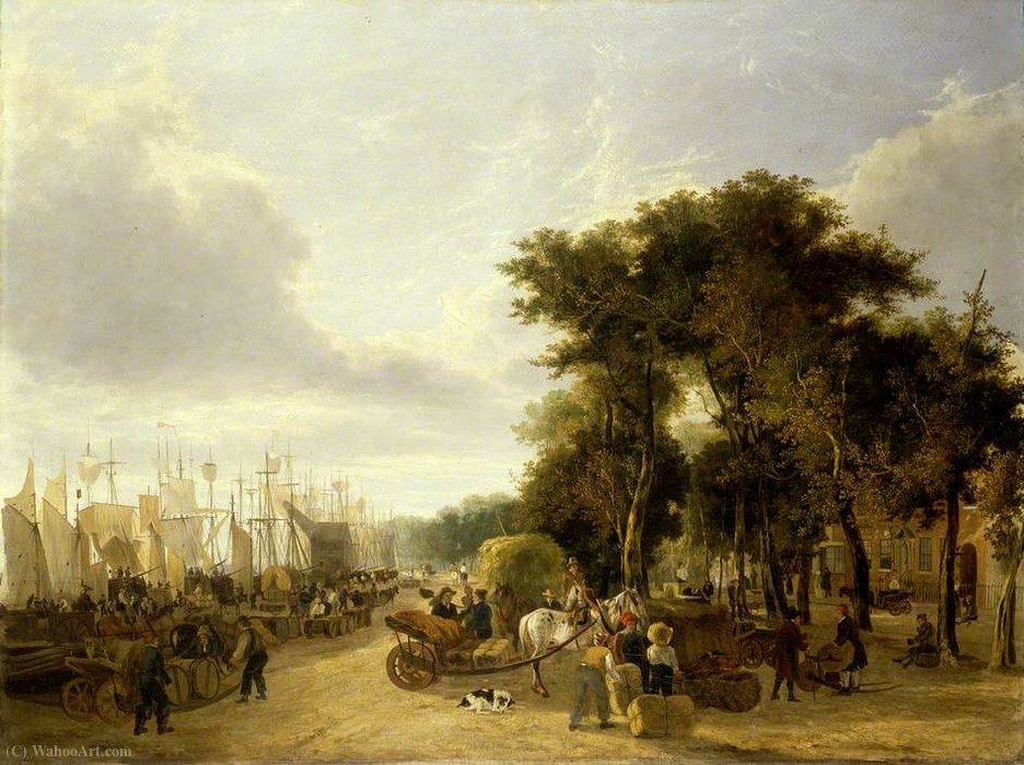 Yarmouth quay, norfolk by George Vincent (1796-1831, United Kingdom)