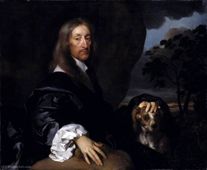 Portrait of a Gentleman with a Dog, Probably Sir Thomas Tipping by Gerard Soest (1600-1681, Germany)