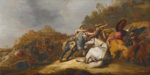 Gerrit Claesz Bleker - A Battle on Horseback with Armored Soldiers and Soldiers Wearing Turbans, in a Landscape