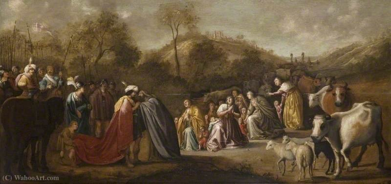 The Meeting of Jacob and Esau by Gerrit Claesz Bleker (1593-1656, Netherlands) | Museum Art Reproductions | ArtsDot.com
