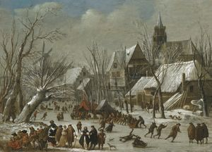 Gerrit Van Battem - A winter landscape with f..