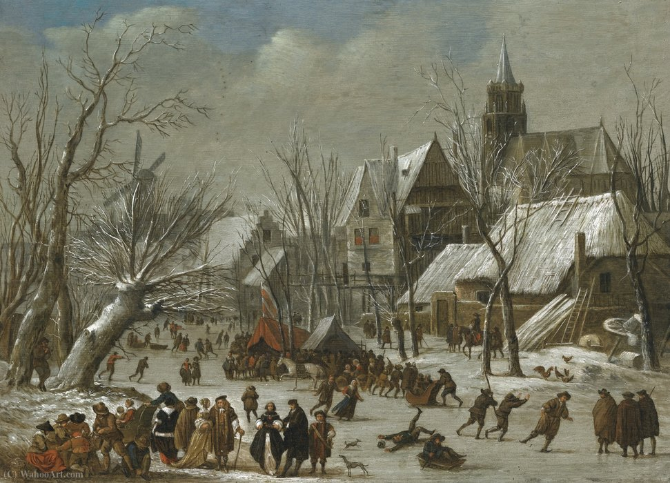 Order Museum Quality Copies | A winter landscape with figures on a frozen canal by Gerrit Van Battem (1636-1684, Netherlands) | ArtsDot.com
