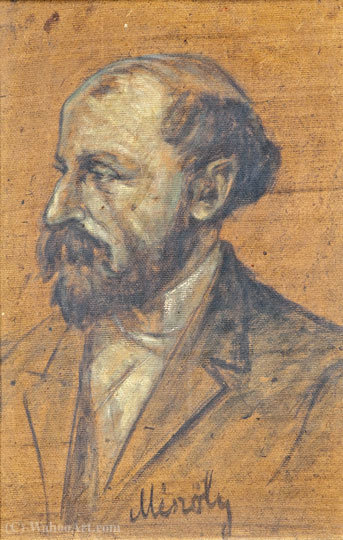 Self portrait by Geza Meszoly (1844-1887, Hungary) | Paintings Reproductions Geza Meszoly | ArtsDot.com