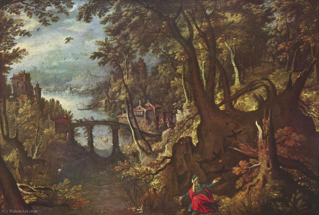 Elias is fed by ravens by Gillis Van Coninxloo (1544-1606, Belgium)
