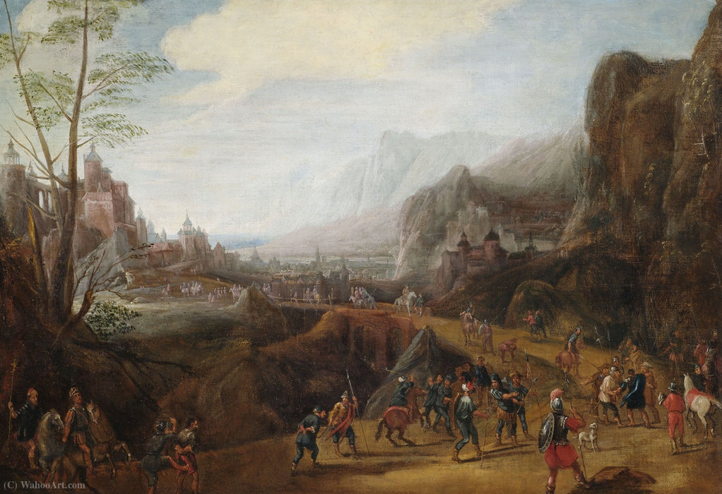Landscape with a scene of the Conversion of Saul by Gillis Van Coninxloo (1544-1606, Belgium)