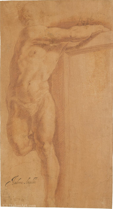 Study of a figure on a cross by Giovanni Andrea Ansaldo (1584-1638, Italy)