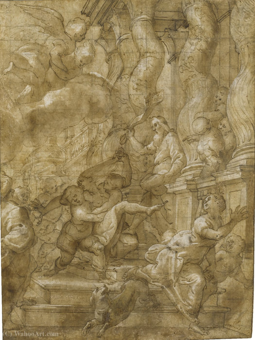 Women being chased out of a temple by Giovanni Andrea Ansaldo (1584-1638, Italy) | Museum Art Reproductions | ArtsDot.com
