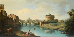 Giuseppe Zocchi - View of the Tiber Looking..