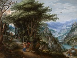 Hendrick De Clerck - Landscape with Tobias and the ..