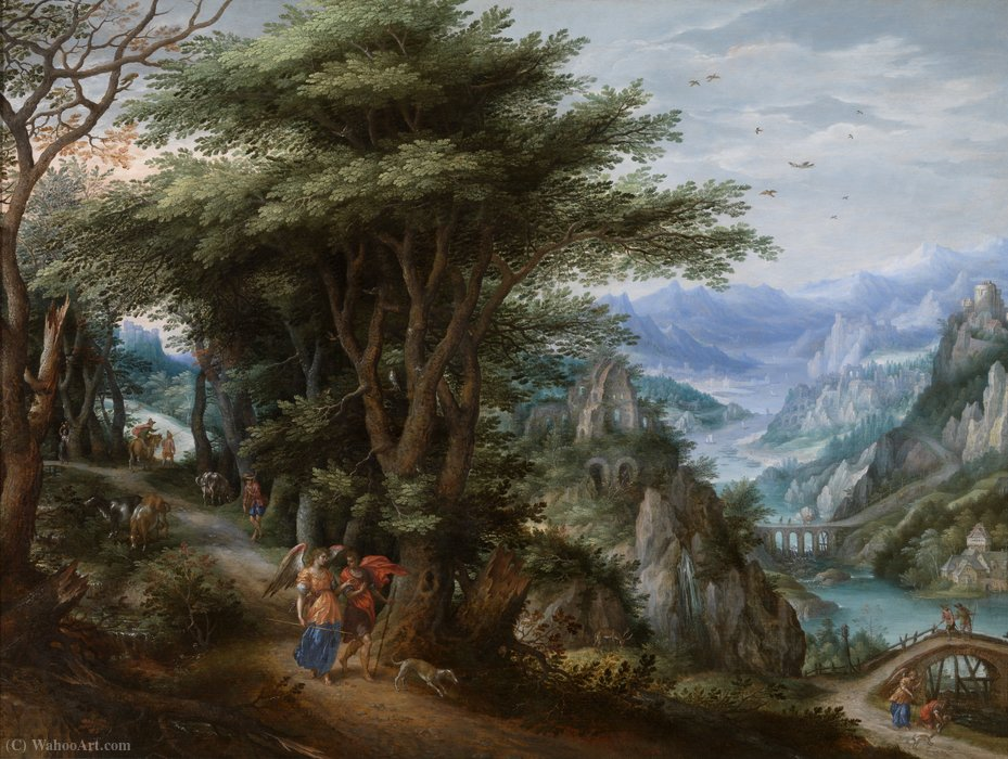 Landscape with Tobias and the Archangel Raphael by Hendrick De Clerck (1570-1630)