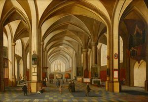 Hendrick Van The Younger .. - A Church Interior with Fi..