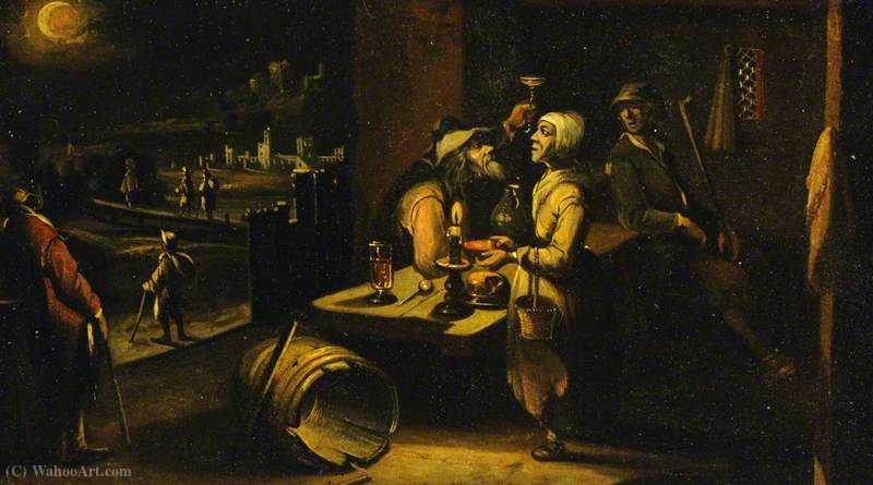 A Man and Woman at Table by Hendrick Van The Younger Steenwyck (1580-1649, Belgium) | Oil Painting | ArtsDot.com