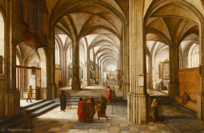 An Imaginary Church or Cathedral Interior, with a Biblical Scene by Hendrick Van The Younger Steenwyck (1580-1649, Belgium)