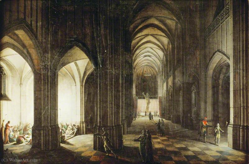 Interior of a Cathedral Dedicated to a Profane Form of Worship by Hendrick Van The Younger Steenwyck (1580-1649, Belgium)
